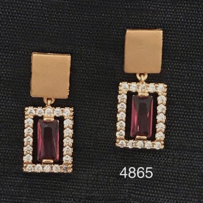 BOLLYWOOD DESIGNER ROSE GOLD EARRING WITH AD AND RED COLOR STONE