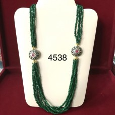 Emerald Color Beads Long Necklace With AD Brotche