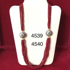 Ruby Beads Long Necklace (mala) with Silver Brotche