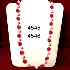 Ruby And Pearl Long Necklace (mala)