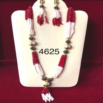Beautiful Necklace with Ruby and Pearls Beads in Western Design