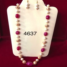 Designer Ruby And Pearls String Necklace