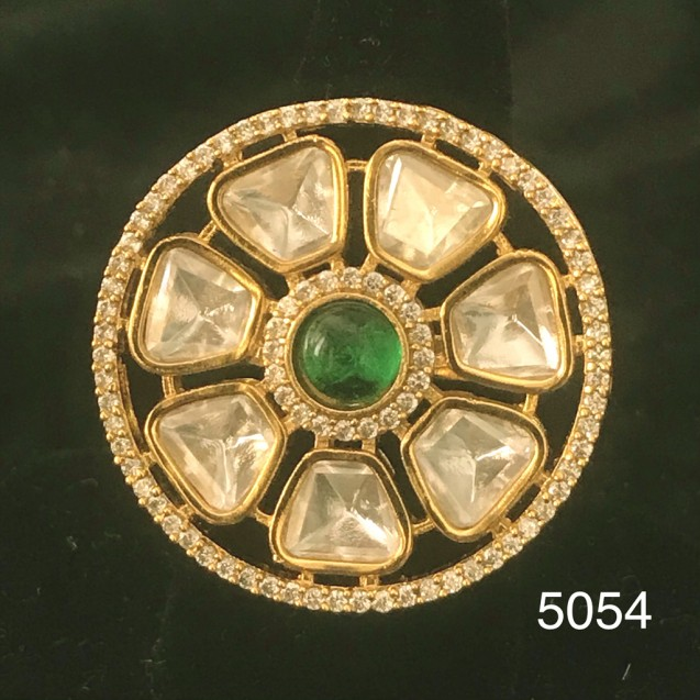 Golden Wheel White Polki AD Kundan With Solitaire Emerald Ring