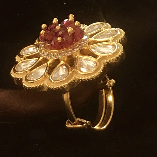 CHARMING BEAUTY OF GOLD AND RUBY INDO WESTERN RING