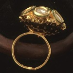 Vintage Floral Kundan  Golden  Alloy  Ring