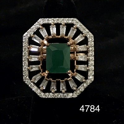 Sparkling Diamond in AD With Emerald in Center  Ring