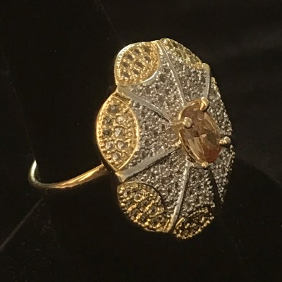 White Golden Shampieon Solitaire pc AD Ring