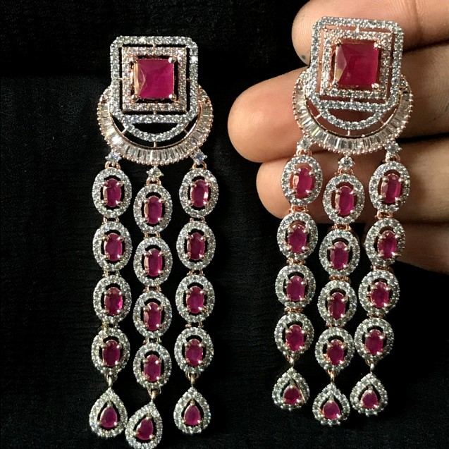 RED ROSE RUBY WITH TOP AD LONG DANGLER STYLE EARRING