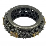 ANTIQUE STYLE BAND WITH STUDDED CZ AND SEMI STONE