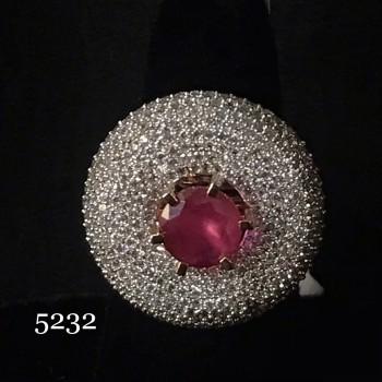 RUBY SOLITAIRE RING WITH TOP GRADE AD STUDDED IN WEDDING RING
