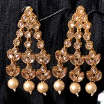 ROSE GOLDEN ALLOY  KUNDAN POLKI PEARL EARRINGS | PUNJABI TRADITIONAL JEWELLERY EXCLUSIVE