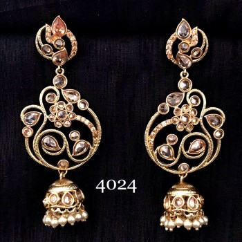 JHUMKA STYLE INDIAN WEDDING KUNDAN POLKI WORK IN ROSE GOLD ALLOY EARRING