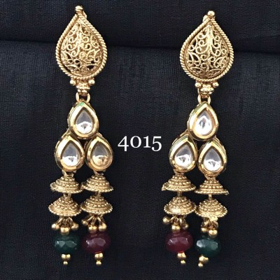 Designer Long Kundan Earring With Color Stone and American Diamond