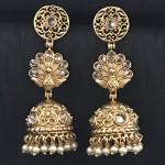 GOLDEN ALLOY MORE PANKH JHUMKA IN KUNDAN EARRING