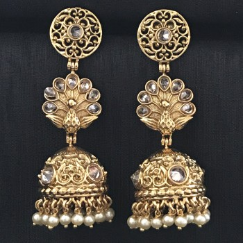 GOLDEN ALLOY MORE PANKH JHUMKA IN KUNDAN EARRING