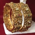 INDIAN BRIDAL WEAR KUNDAN HAND MADE GOLD WORK BANGLE
