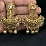 YELLOW GOLDEN WORK WITH CHAMPAGNE STONE AND PEARLS WEDDING EARRING