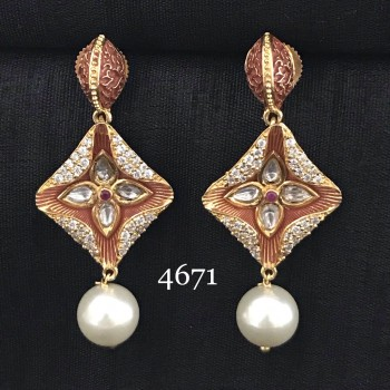 Designer Mint Ear Ring with American Diamond and Pearl