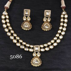 A INDIAN STATUS HIGHLY RECOMMENDED DOUBLE LINE KUNDAN POLKI SET
