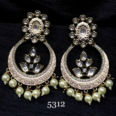 Chand Bali In Mint and Kundan with Pearls