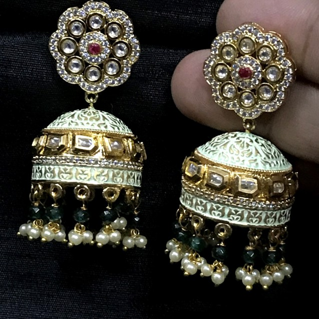FLORAL MINT JHUMKA DESIGNER EARRING WITH KUNDAN WORK