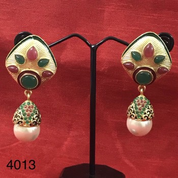 Kundan Earring With Pearl Drops