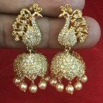 Bridal Jhumka in Peacock Style  with American Diamond