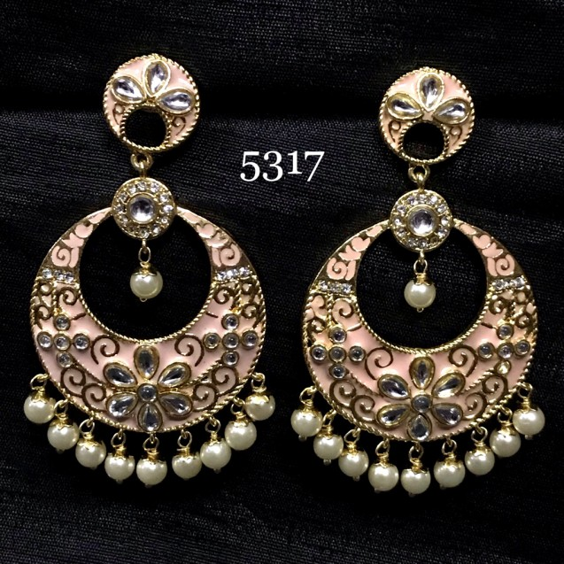 CHAND BALI MINT AND KUNDAN WORK EARRING WITH MINT WORK