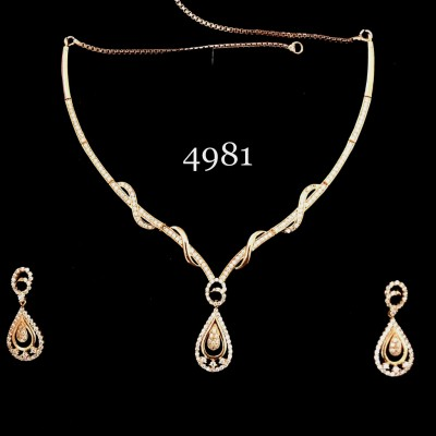ROSE GOLD PLATED PEARS SHAPE PENDULAM  IN AD WITH MINT WORK NECKLACE