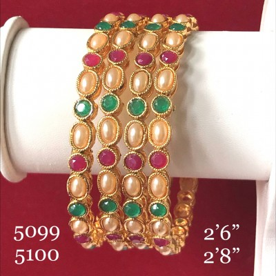 INDIAN TRADITIONAL MULTI COLOR STONE BANGLES IN GOLDEN ALLOY POLISH