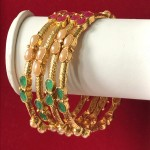 BEAUTIFUL MULTI COLOR STONE GOLDEN BANGLES
