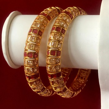 RICH CLASS BANGLES IN RUBY AND CZ STONE IN GOLDEN COLOR POLISHED