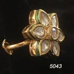 White Golden Floral Kundan Ring