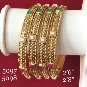GOLDEN ALLOY DESIGNER HAND WORK BANGLES WITH FANCY STONES