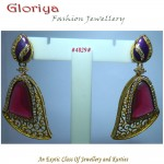 PINK TOURMALINE STONE IN GOLDEN JALI WORK WITH A UNIQUE STYLE EARRING