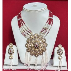 Traditional Necklace with Pearl, Polki,&white Designer Mala