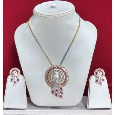 A Very Stylish White Ad And Ruby Pendant Set With Exclusive Earring