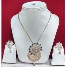 Fashion Pendant Set And Earrings with American Diamonds