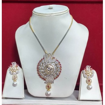 Indian Fashion Jewelry Bollywood American Diamond Necklace Earrings Sets