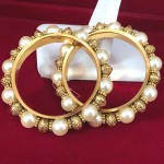 Round Etched Gold Tone with White Glass Pearls Bangles