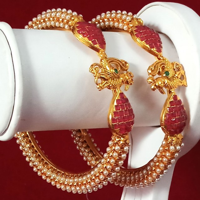 Exclusive Bangles With Red SQ Stone And Peacock Shape