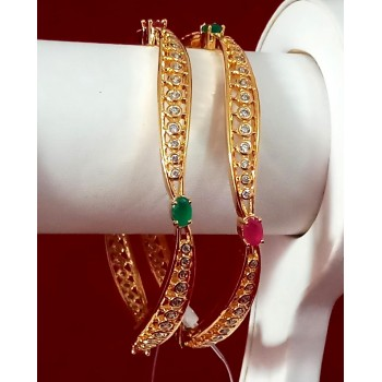 Exclusive Bangles With Red And Green Color Beautiful Stone